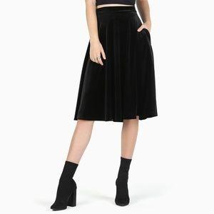 NWT Blackmilk Velvet Black Pocket Midi Skirt